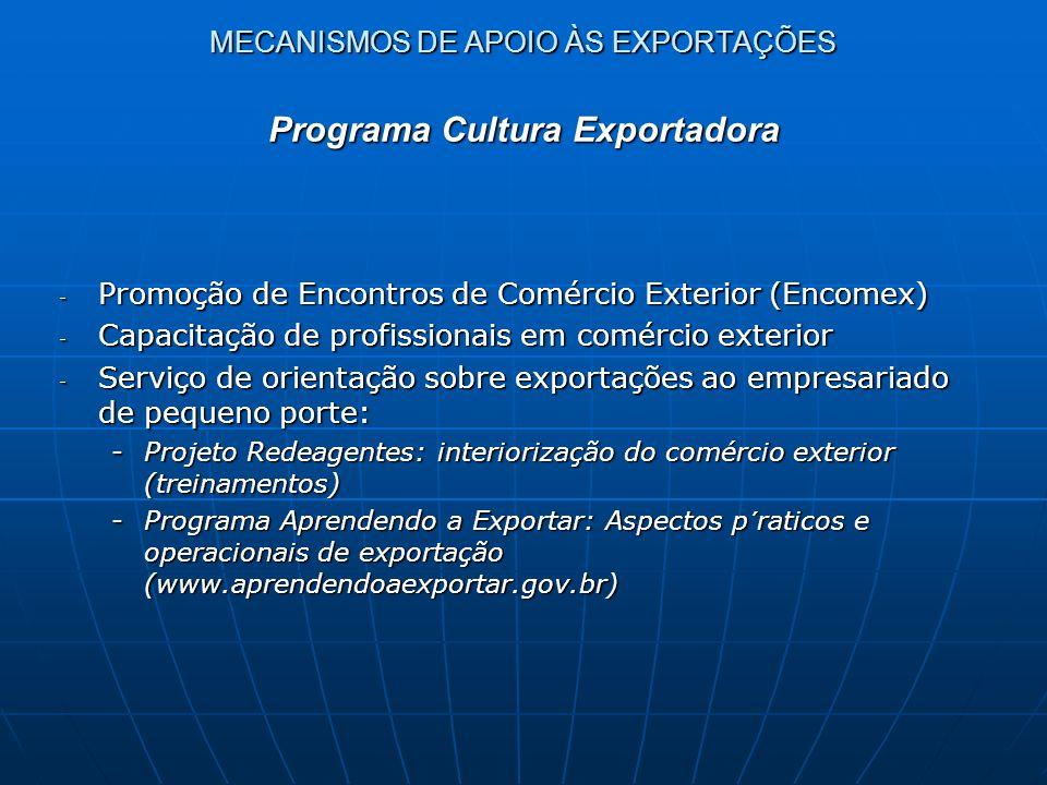 MECANISMOS DE APOIO ÀS EXPORTAÇÕES - Promoção de Encontros de Comércio Exterior (Encomex) - Capacitação de profissionais em comércio exterior - Serviç