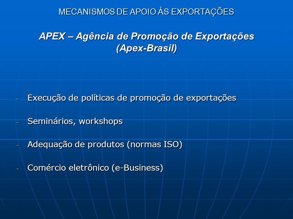 MECANISMOS DE APOIO ÀS EXPORTAÇÕES - Execução de políticas de promoção de exportações - Seminários, workshops - Adequação de produtos (normas ISO) - C