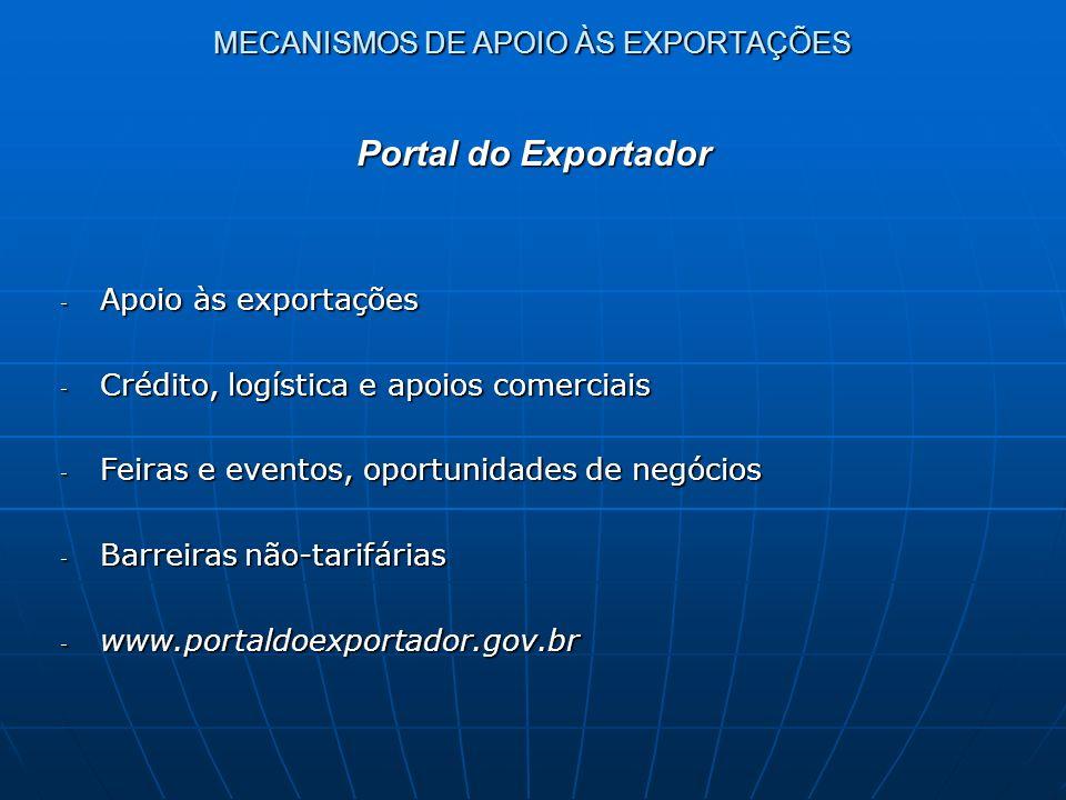 MECANISMOS DE APOIO ÀS EXPORTAÇÕES - Apoio às exportações - Crédito, logística e apoios comerciais - Feiras e eventos, oportunidades de negócios - Bar
