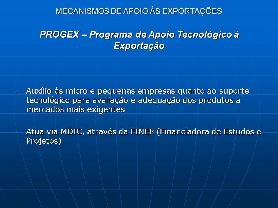 MECANISMOS DE APOIO ÀS EXPORTAÇÕES - Auxílio às micro e pequenas empresas quanto ao suporte tecnológico para avaliação e adequação dos produtos a merc