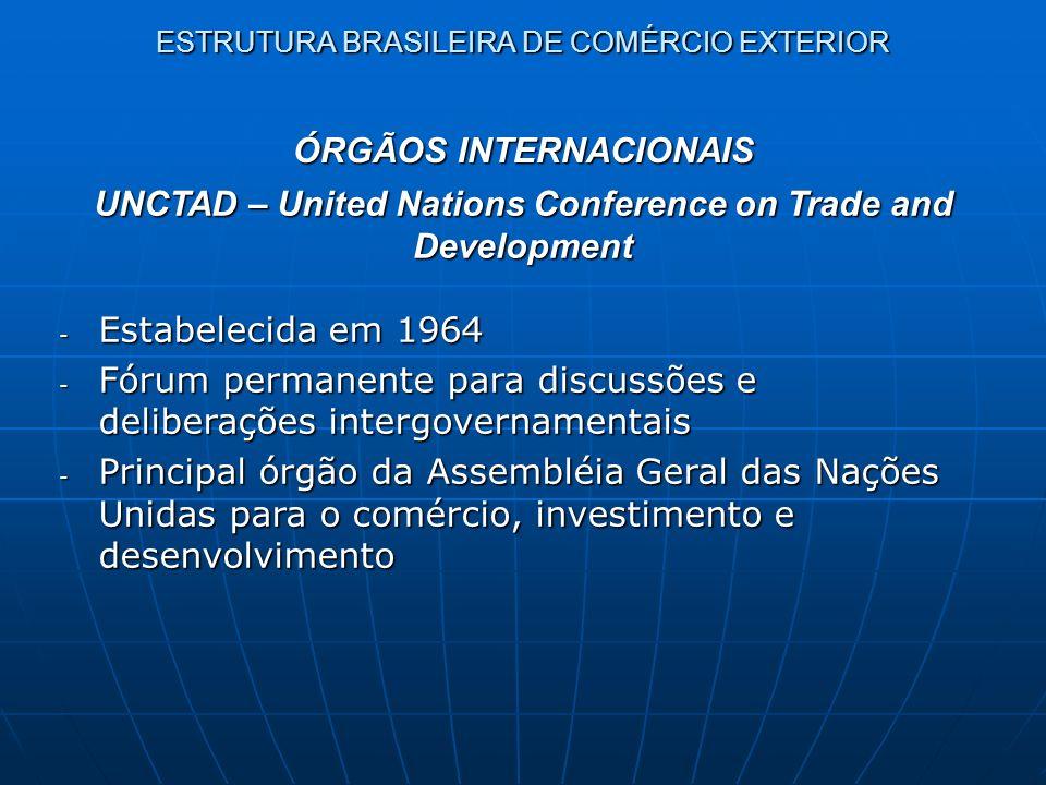 ESTRUTURA BRASILEIRA DE COMÉRCIO EXTERIOR ÓRGÃOS INTERNACIONAIS UNCTAD – United Nations Conference on Trade and Development - Estabelecida em 1964 - F