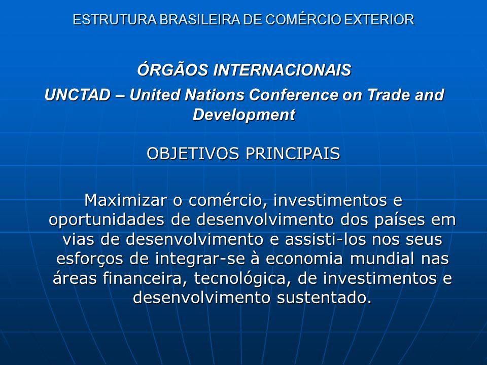 ESTRUTURA BRASILEIRA DE COMÉRCIO EXTERIOR ÓRGÃOS NACIONAIS ( > 300 / Não existe um órgão central) - Política de desenvolvimento da indústria, do comércio e dos serviços (área internacional) - Política de Comércio Exterior - Regulamentação e execução de programas relativos à área - Aplicação de mecanismos de defesa comercial - Participação em negociações internacionais relativos ao comércio exterior - Missões comerciais externas e internas MDIC - Ministério do Desenvolvimento, Indústria e Comércio Exterior