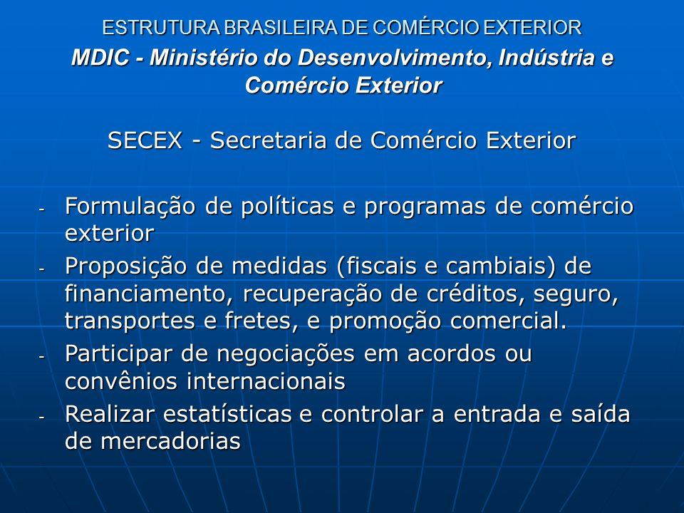 ESTRUTURA BRASILEIRA DE COMÉRCIO EXTERIOR SECEX - Departamentos - DECEX: Departamento de Operações de Comércio Exterior (administra o Siscomex - Sistema Integrado de Comércio Exterior) - DEINT: Departamento de Negociações Internacionais (acordos) - DECOM: Departamento de Defesa Comercial (acompanhamento de normas e aplicação de acordos de defesa comercial) - DEPLA: Departamento de Planejamento e Desenvolvimento do Comércio Exterior (propor e acompanhar políticas e programas) MDIC - Ministério do Desenvolvimento, Indústria e Comércio Exterior