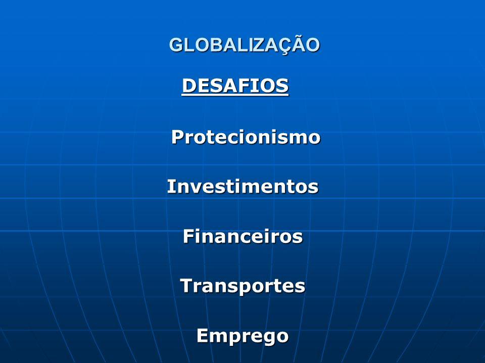 GLOBALIZAÇÃO Protecionismo ProtecionismoInvestimentosFinanceirosTransportesEmprego DESAFIOS