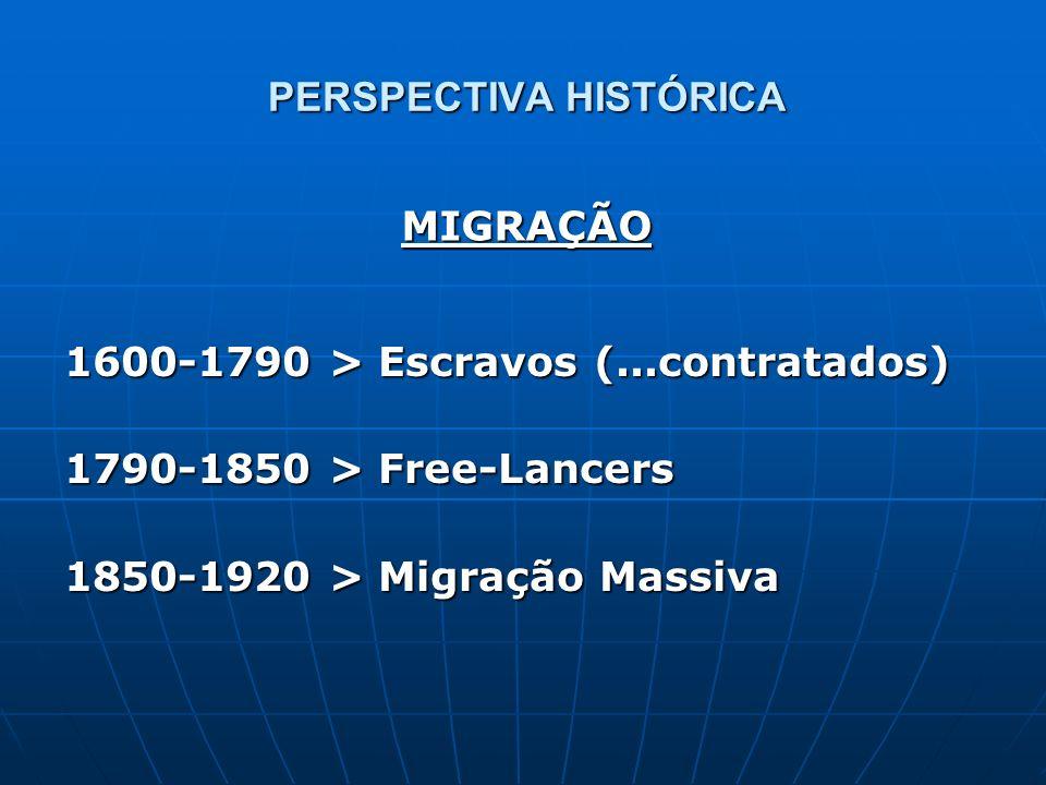 PERSPECTIVA HISTÓRICA 1600-1790 > Escravos (...contratados) 1790-1850 > Free-Lancers 1850-1920 > Migração Massiva MIGRAÇÃO