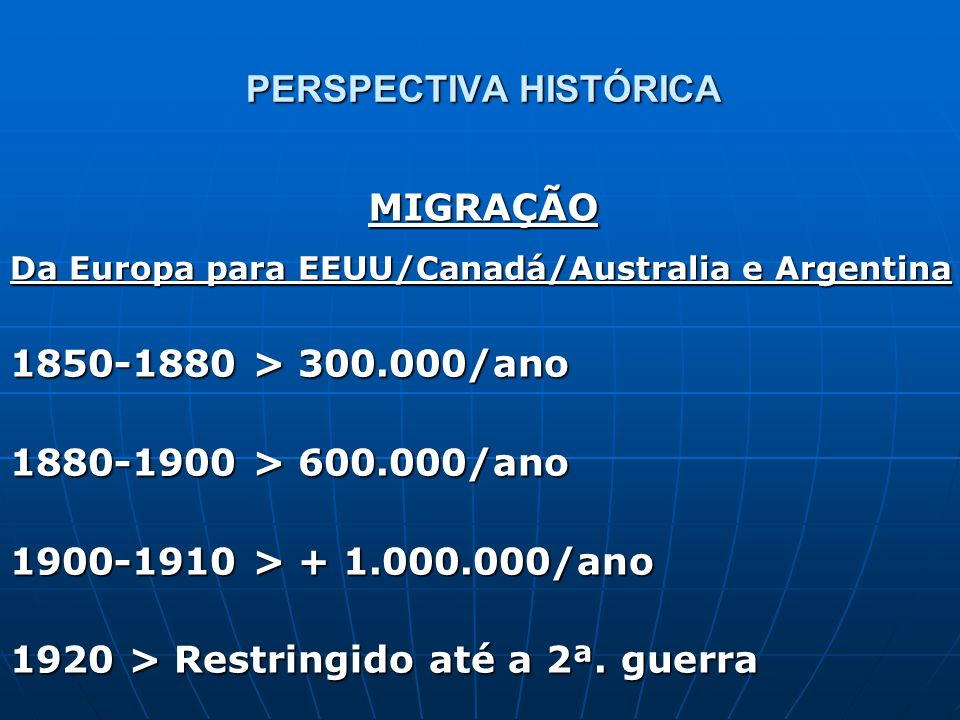 PERSPECTIVA HISTÓRICA Da Europa para EEUU/Canadá/Australia e Argentina 1850-1880 > 300.000/ano 1880-1900 > 600.000/ano 1900-1910 > + 1.000.000/ano 192