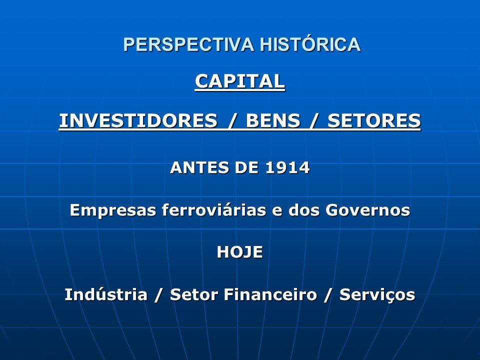 PERSPECTIVA HISTÓRICA INVESTIDORES / BENS / SETORES ANTES DE 1914 Empresas ferroviárias e dos Governos HOJE Indústria / Setor Financeiro / Serviços CA