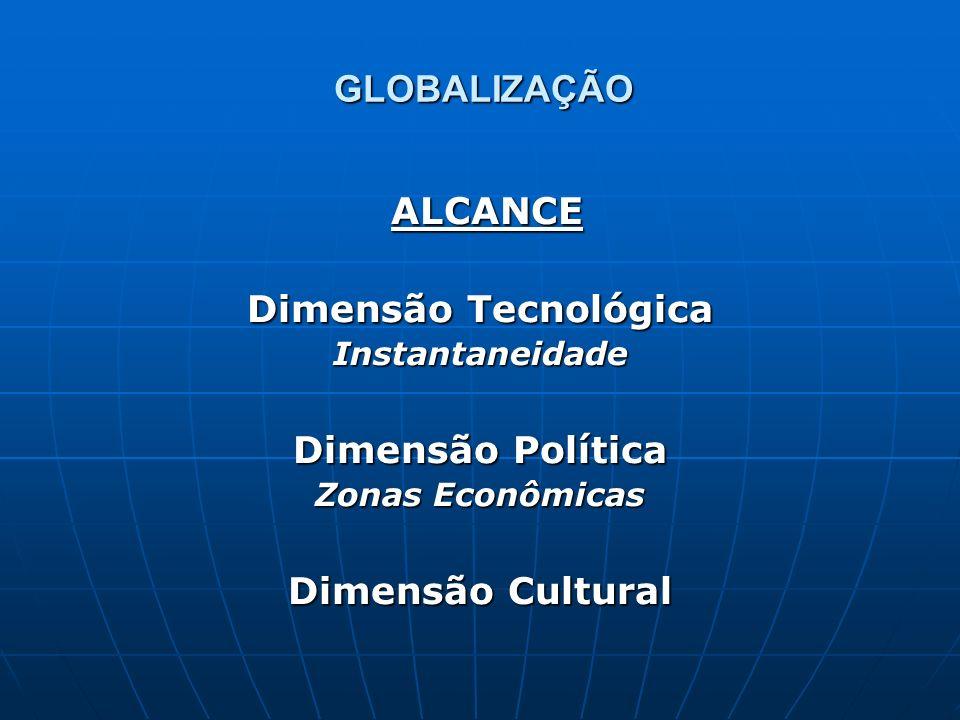 GLOBALIZAÇÃO ALCANCE ALCANCE Dimensão Tecnológica Instantaneidade Dimensão Política Zonas Econômicas Dimensão Cultural