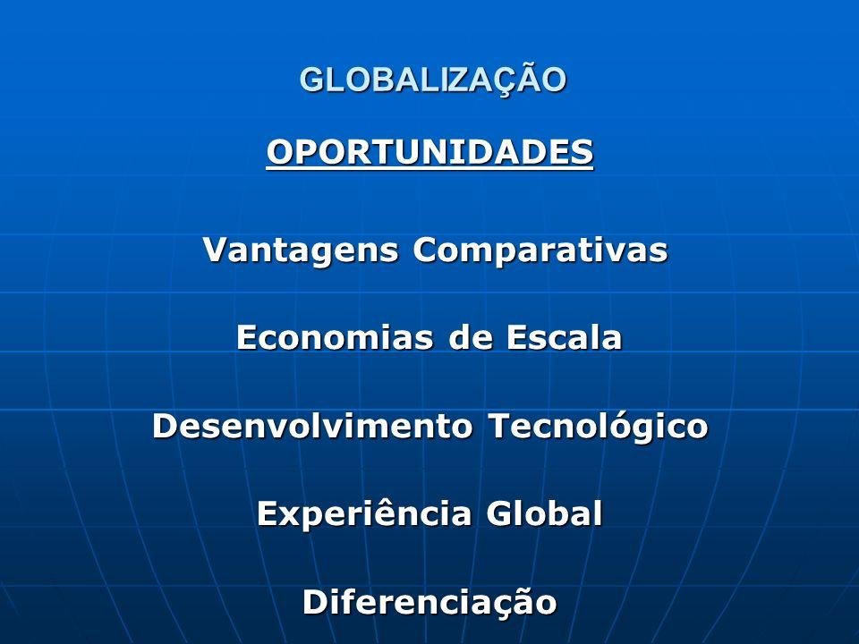 GLOBALIZAÇÃO Vantagens Comparativas Vantagens Comparativas Economias de Escala Desenvolvimento Tecnológico Experiência Global Diferenciação OPORTUNIDA