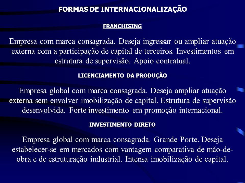 FORMAS DE INTERNACIONALIZAÇÃO FRANCHISING Empresa com marca consagrada. Deseja ingressar ou ampliar atuação externa com a participação de capital de t