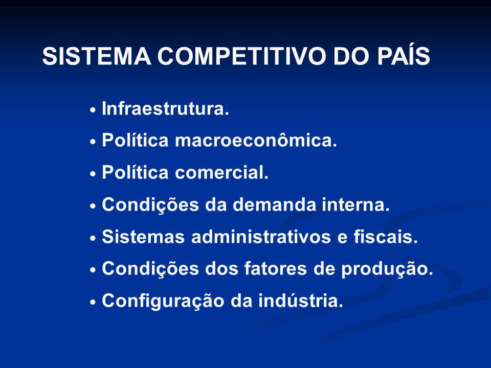 SISTEMA COMPETITIVO DO PAÍS Infraestrutura.Política macroeconômica.