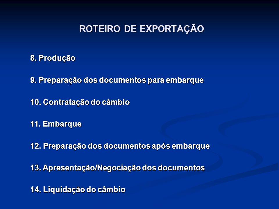 ROTEIRO DE EXPORTAÇÃO 8.Produção 9. Preparação dos documentos para embarque 10.