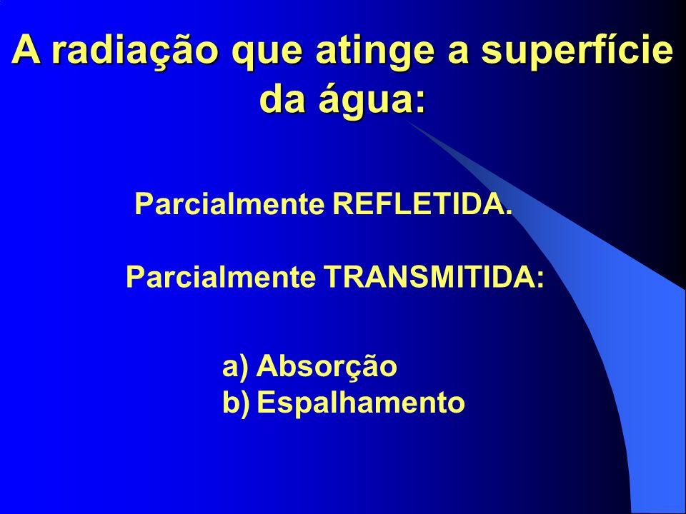 A radiação que atinge a superfície da água: Parcialmente REFLETIDA. Parcialmente TRANSMITIDA: a)Absorção b)Espalhamento