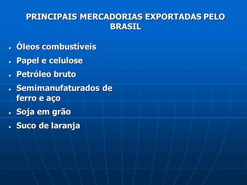 PRINCIPAIS MERCADORIAS EXPORTADAS PELO BRASIL Óleos combustíveis Óleos combustíveis Papel e celulose Papel e celulose Petróleo bruto Petróleo bruto Se