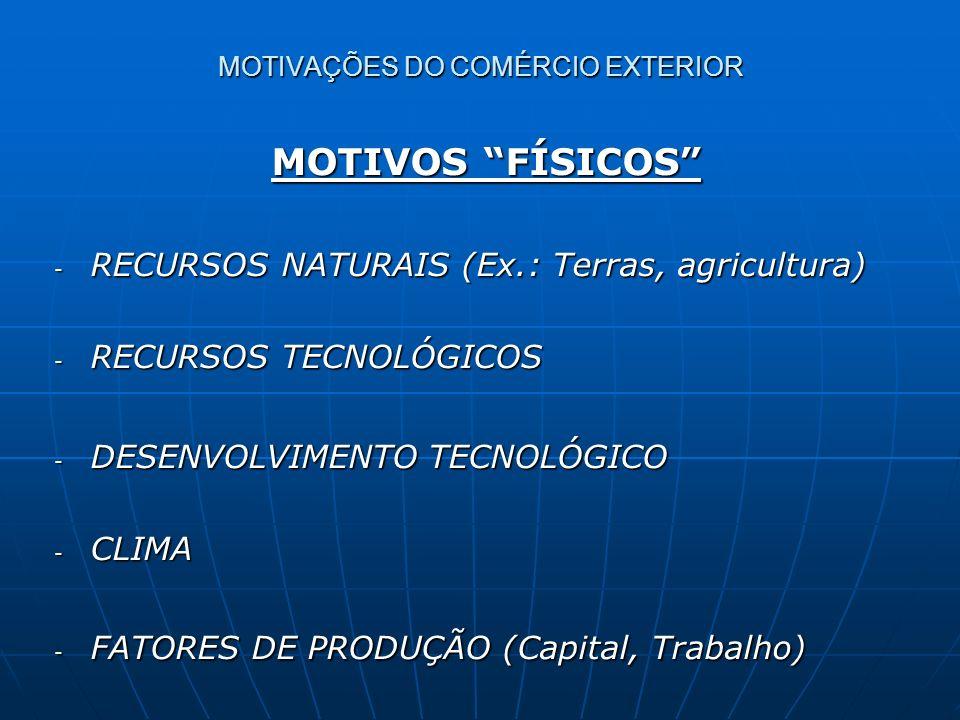 MOTIVOS RELACIONAIS MOTIVOS RELACIONAIS - MELHORIA DA QUALIDADE - IMPORTÂNCIA POLÍTICA - ATIVIDADE ECONÔMICA COMPLEMENTAR (Produção conjunta) - DILUIÇÃO DE RISCOS (Mercados alternativos) MOTIVAÇÕES DO COMÉRCIO EXTERIOR