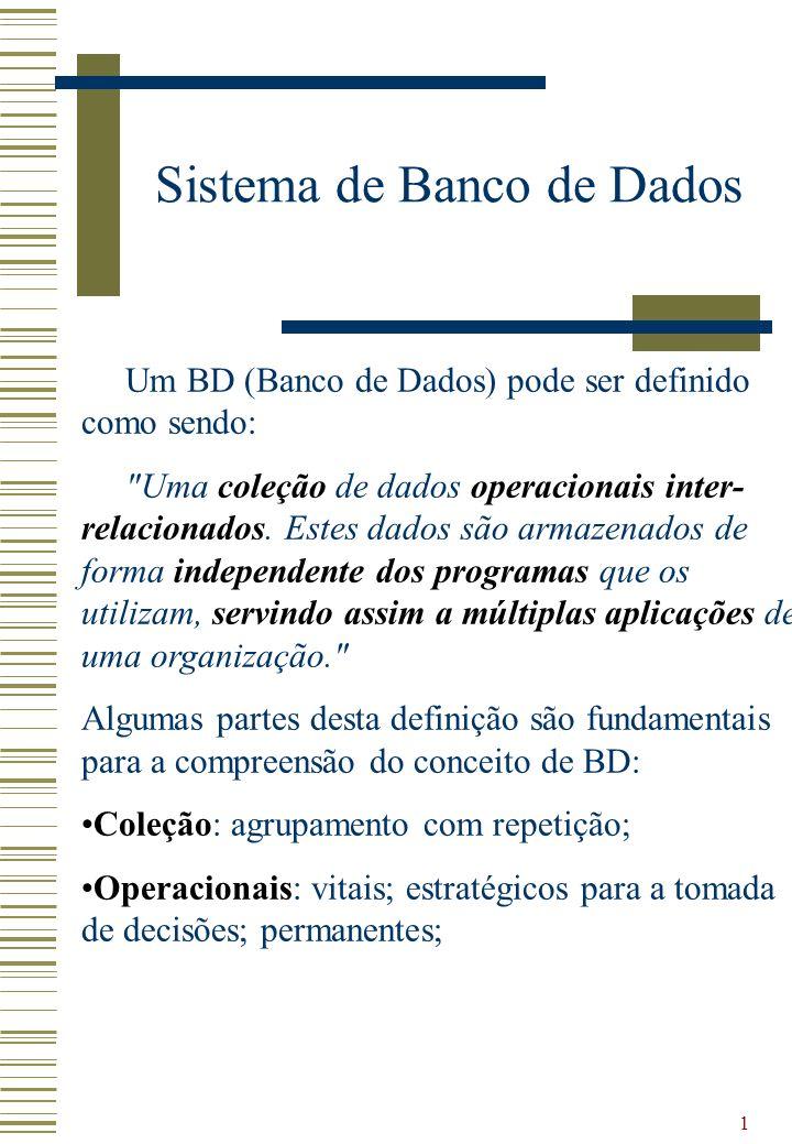 1 Sistema de Banco de Dados Um BD (Banco de Dados) pode ser definido como sendo: