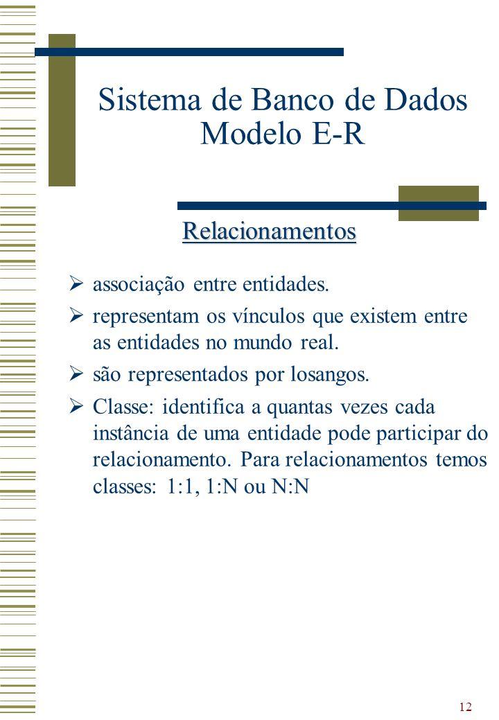 12 Sistema de Banco de Dados Modelo E-R Relacionamentos associação entre entidades. representam os vínculos que existem entre as entidades no mundo re