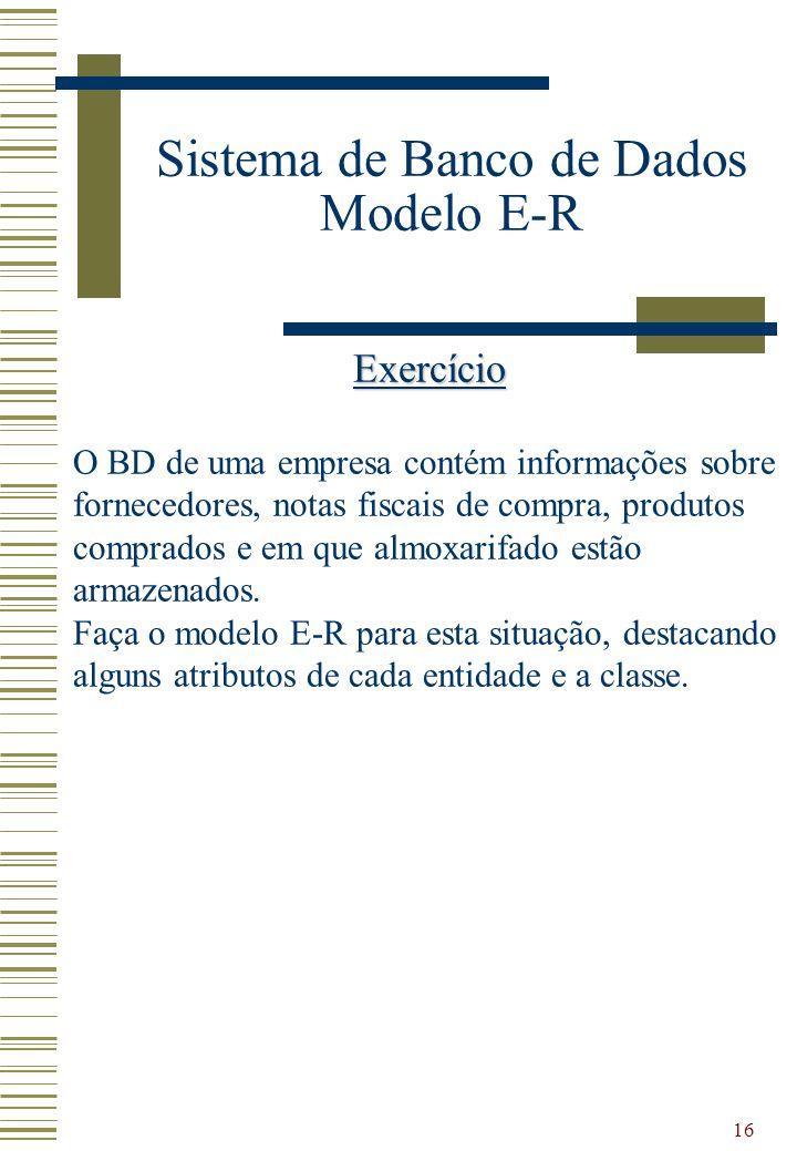 16 Sistema de Banco de Dados Modelo E-R Exercício O BD de uma empresa contém informações sobre fornecedores, notas fiscais de compra, produtos comprad