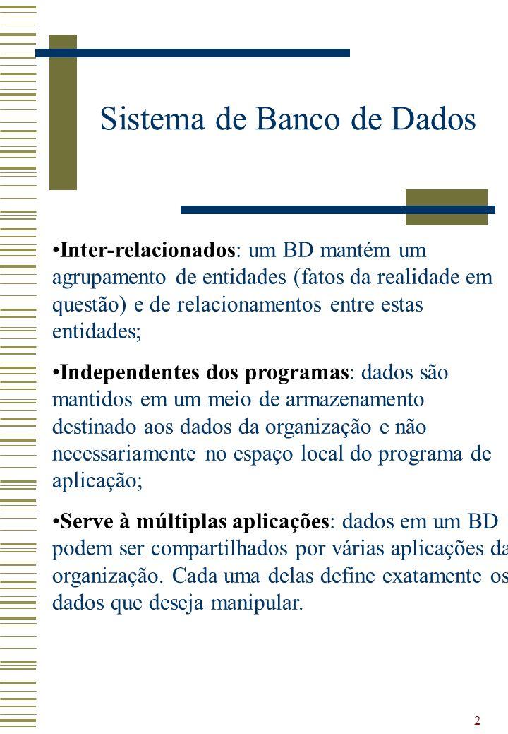 2 Inter-relacionados: um BD mantém um agrupamento de entidades (fatos da realidade em questão) e de relacionamentos entre estas entidades; Independent
