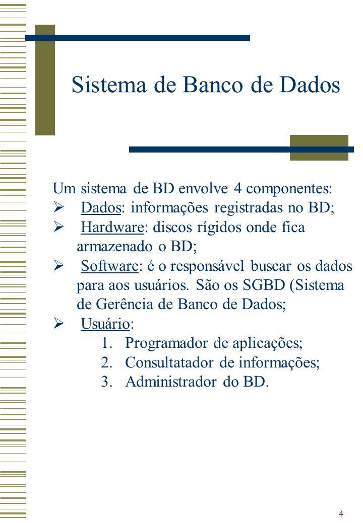 4 Sistema de Banco de Dados Um sistema de BD envolve 4 componentes: Dados: informações registradas no BD; Hardware: discos rígidos onde fica armazenad