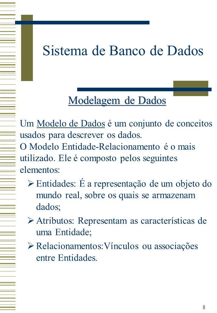 8 Sistema de Banco de Dados Modelagem de Dados Um Modelo de Dados é um conjunto de conceitos usados para descrever os dados. O Modelo Entidade-Relacio