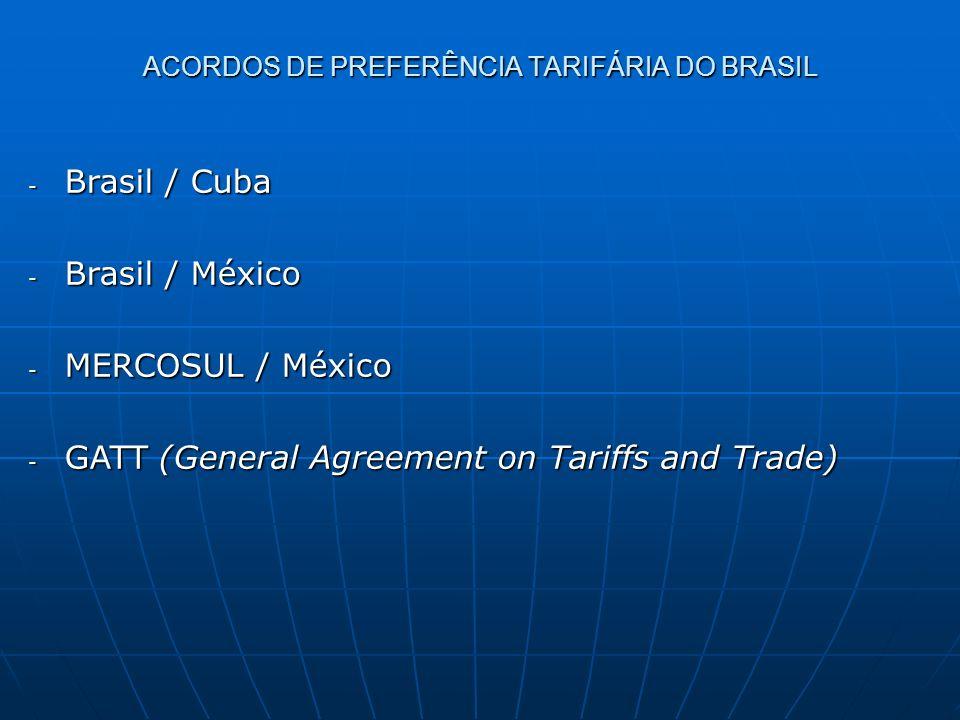 - Brasil / Cuba - Brasil / México - MERCOSUL / México - GATT (General Agreement on Tariffs and Trade) ACORDOS DE PREFERÊNCIA TARIFÁRIA DO BRASIL