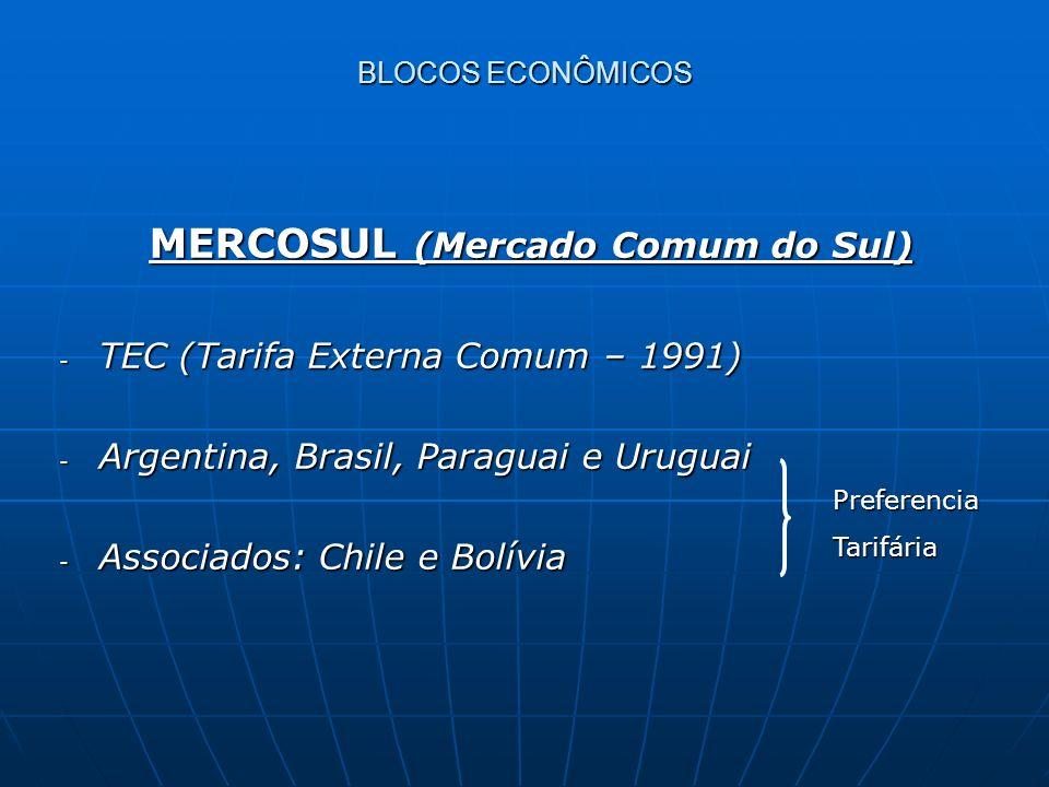 MERCOSUL (Mercado Comum do Sul) MERCOSUL (Mercado Comum do Sul) - TEC (Tarifa Externa Comum – 1991) - Argentina, Brasil, Paraguai e Uruguai - Associad