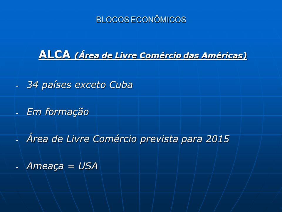 ALCA (Área de Livre Comércio das Américas) ALCA (Área de Livre Comércio das Américas) - 34 países exceto Cuba - Em formação - Área de Livre Comércio p