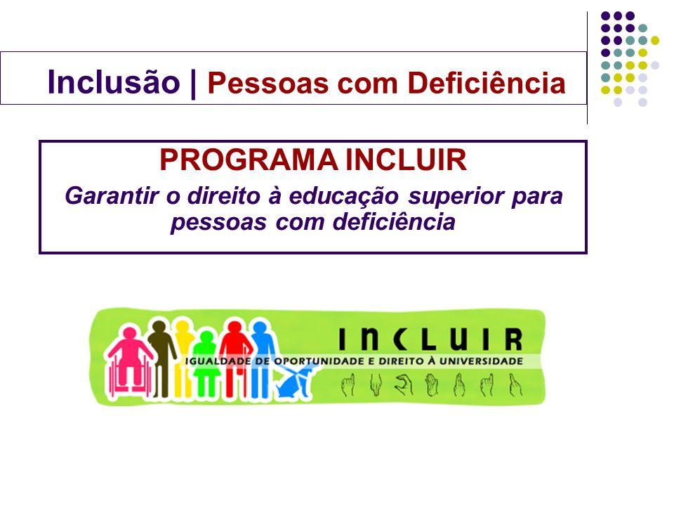 PROGRAMA INCLUIR Garantir o direito à educação superior para pessoas com deficiência Inclusão | Pessoas com Deficiência