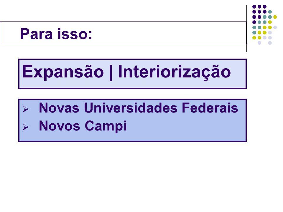 Para isso: Expansão | Interiorização Novas Universidades Federais Novos Campi
