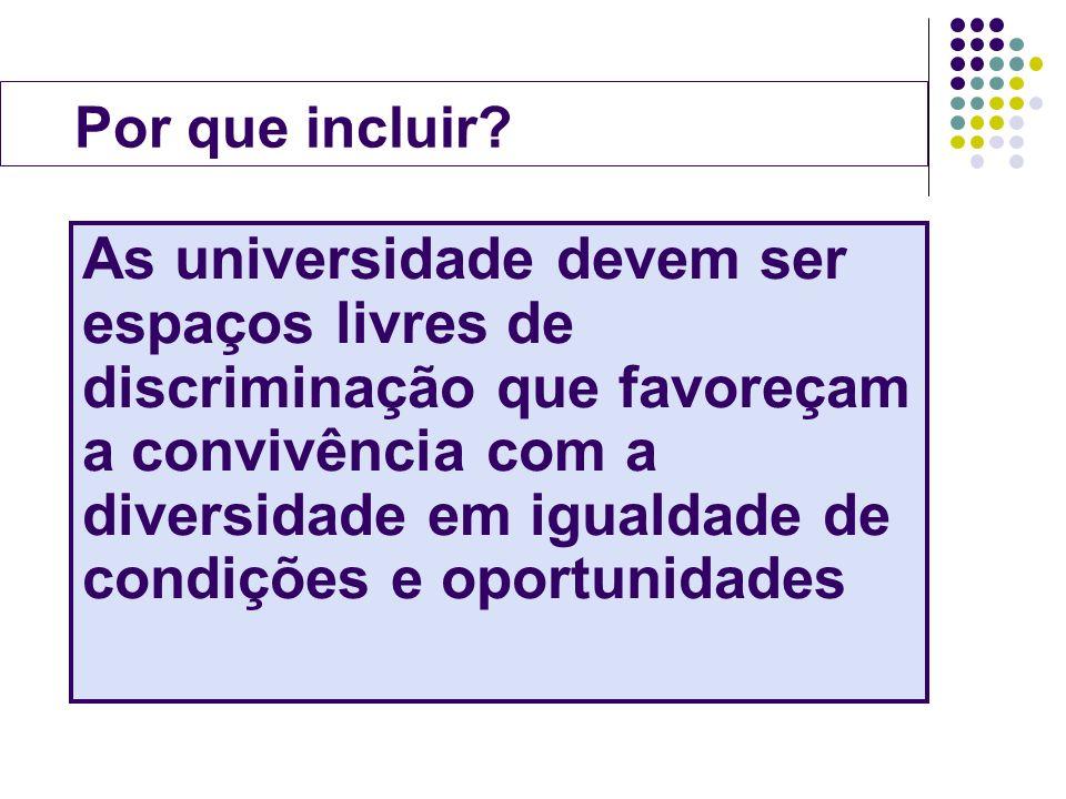 Por que incluir? As universidade devem ser espaços livres de discriminação que favoreçam a convivência com a diversidade em igualdade de condições e o