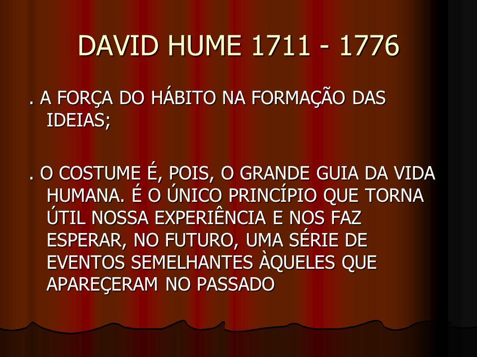 DAVID HUME 1711 - 1776. A FORÇA DO HÁBITO NA FORMAÇÃO DAS IDEIAS;. O COSTUME É, POIS, O GRANDE GUIA DA VIDA HUMANA. É O ÚNICO PRINCÍPIO QUE TORNA ÚTIL