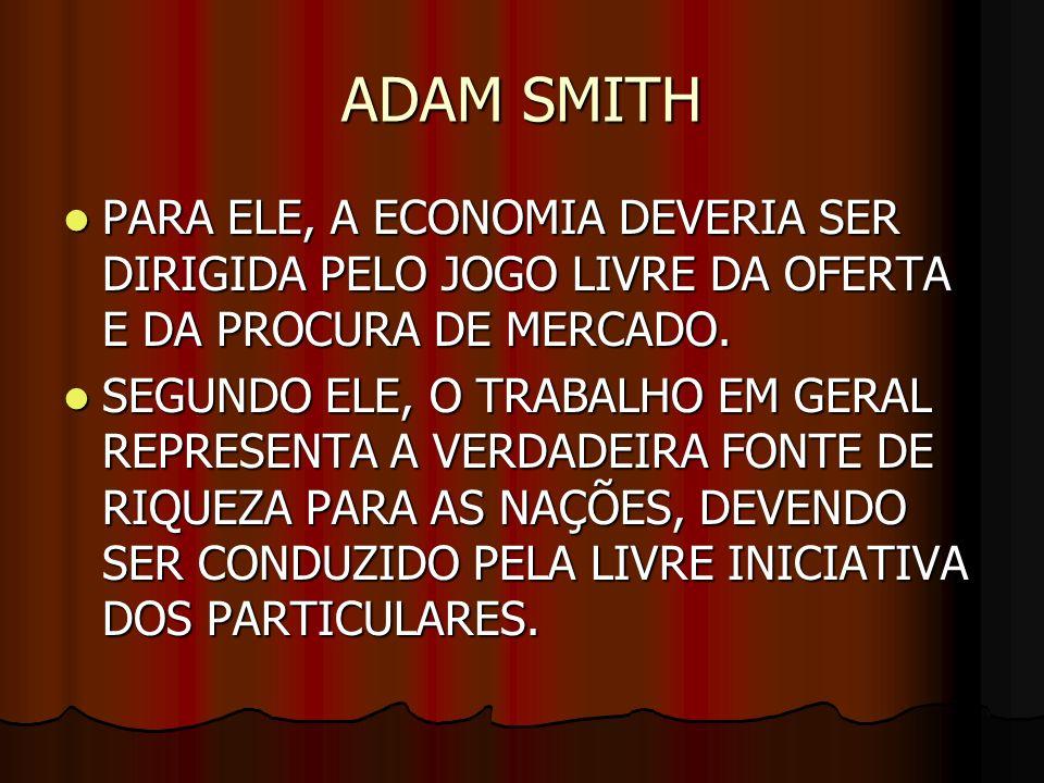 ADAM SMITH PARA ELE, A ECONOMIA DEVERIA SER DIRIGIDA PELO JOGO LIVRE DA OFERTA E DA PROCURA DE MERCADO. PARA ELE, A ECONOMIA DEVERIA SER DIRIGIDA PELO