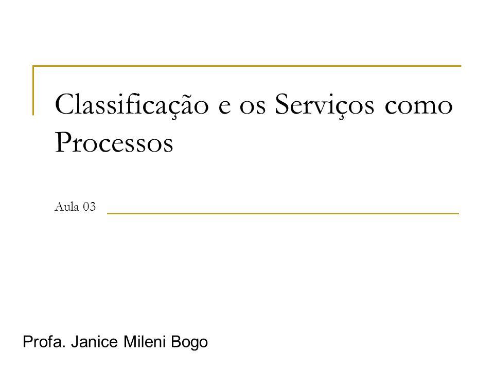 Classificação e os Serviços como Processos Aula 03 Profa. Janice Mileni Bogo
