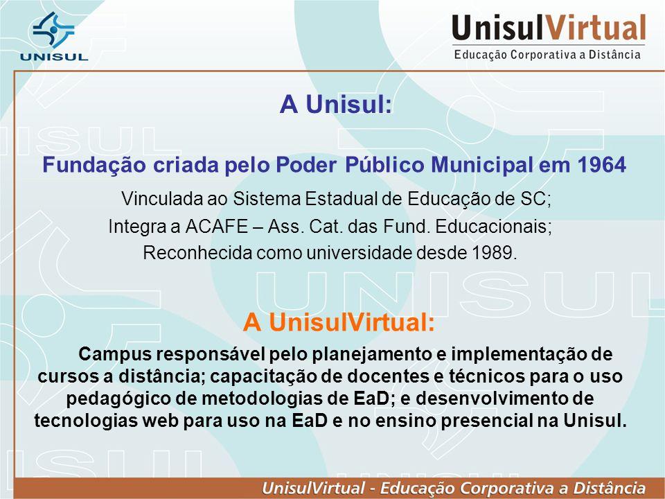 A Unisul: Fundação criada pelo Poder Público Municipal em 1964 Vinculada ao Sistema Estadual de Educação de SC; Integra a ACAFE – Ass. Cat. das Fund.