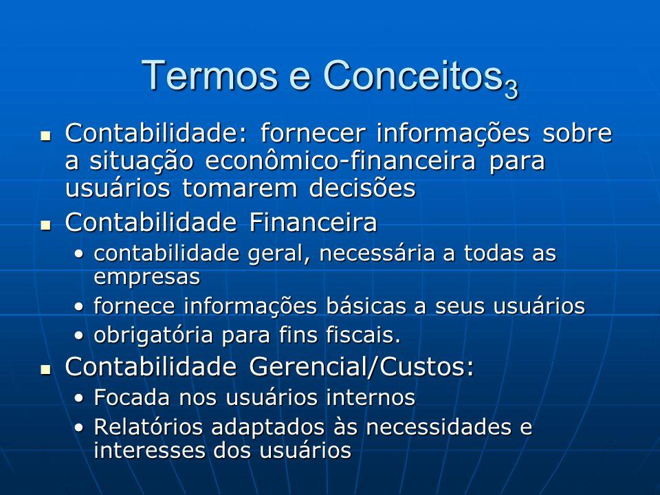 Termos e Conceitos 3 Contabilidade: fornecer informações sobre a situação econômico-financeira para usuários tomarem decisões Contabilidade: fornecer