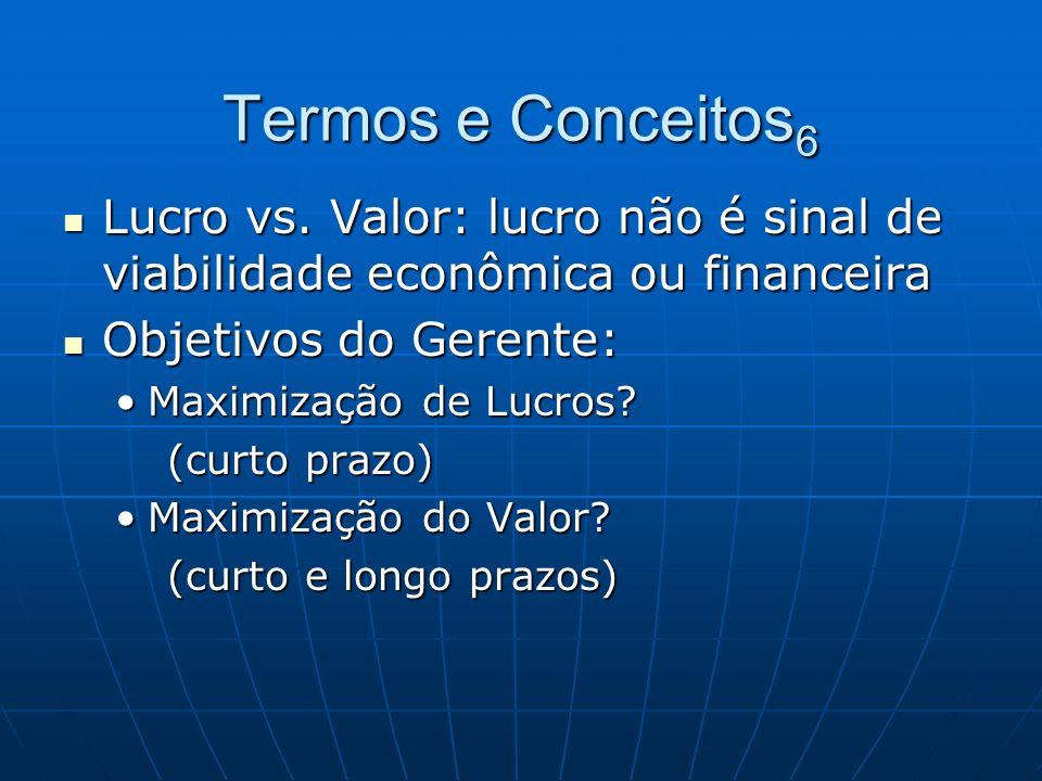 Termos e Conceitos 6 Lucro vs. Valor: lucro não é sinal de viabilidade econômica ou financeira Lucro vs. Valor: lucro não é sinal de viabilidade econô