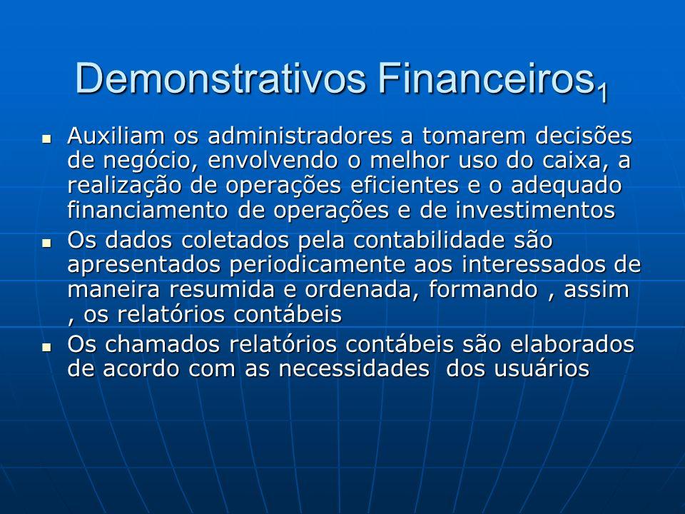 Demonstrativos Financeiros 1 Auxiliam os administradores a tomarem decisões de negócio, envolvendo o melhor uso do caixa, a realização de operações ef