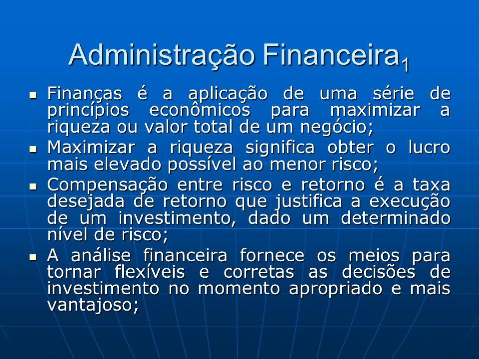 Administração Financeira 1 Finanças é a aplicação de uma série de princípios econômicos para maximizar a riqueza ou valor total de um negócio; Finança