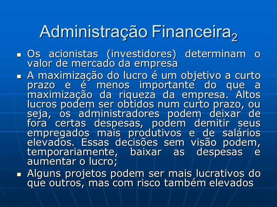 Administração Financeira 2 Os acionistas (investidores) determinam o valor de mercado da empresa Os acionistas (investidores) determinam o valor de me