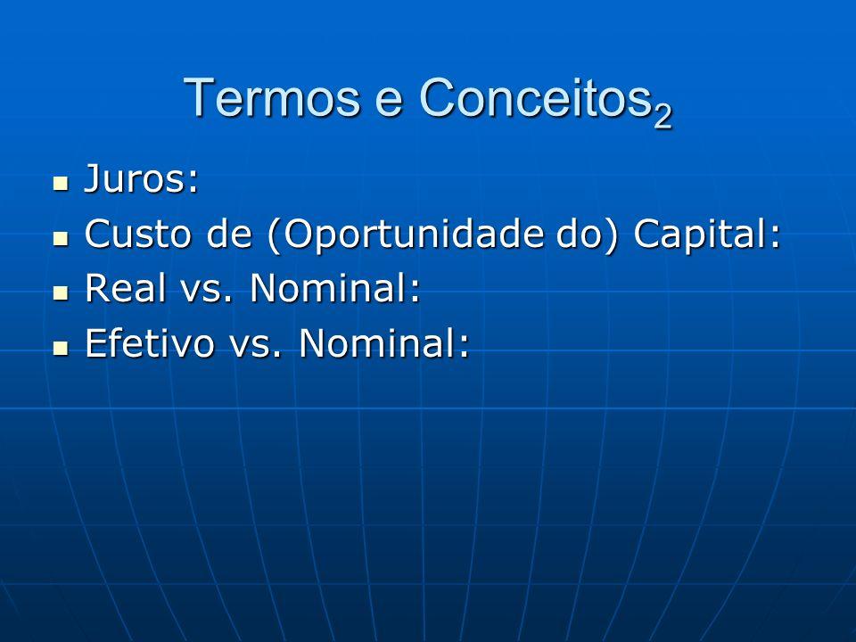 Termos e Conceitos 2 Juros: Juros: Custo de (Oportunidade do) Capital: Custo de (Oportunidade do) Capital: Real vs. Nominal: Real vs. Nominal: Efetivo