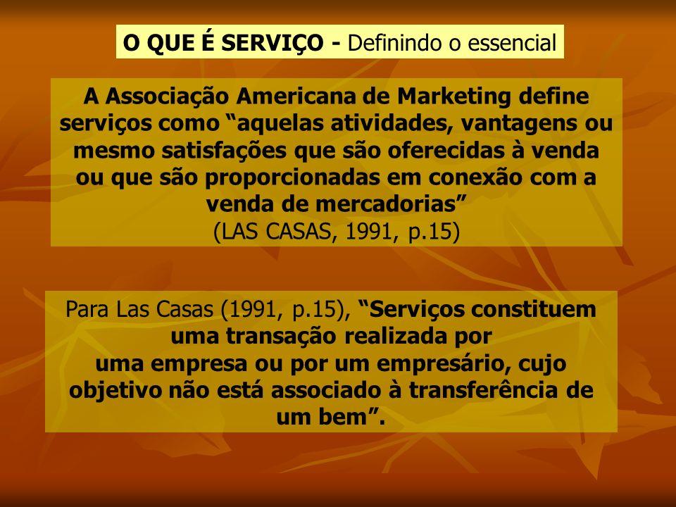 A Associação Americana de Marketing define serviços como aquelas atividades, vantagens ou mesmo satisfações que são oferecidas à venda ou que são prop