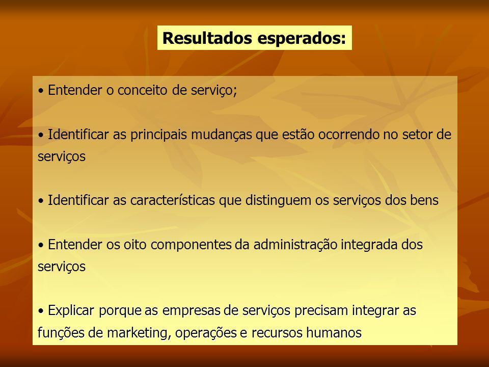 Resultados esperados: Entender o conceito de serviço; Identificar as principais mudanças que estão ocorrendo no setor de serviços Identificar as carac