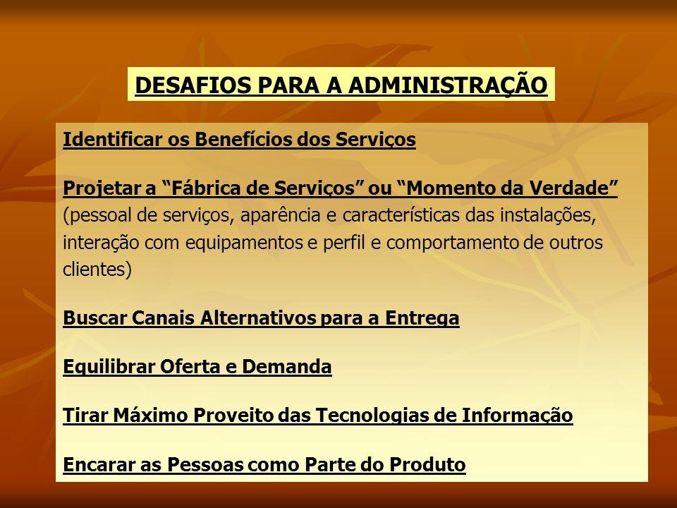 DESAFIOS PARA A ADMINISTRAÇÃO Identificar os Benefícios dos Serviços Projetar a Fábrica de Serviços ou Momento da Verdade (pessoal de serviços, aparên