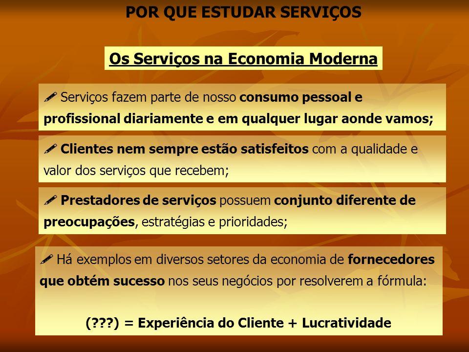 Os Serviços na Economia Moderna Serviços fazem parte de nosso consumo pessoal e profissional diariamente e em qualquer lugar aonde vamos; Clientes nem