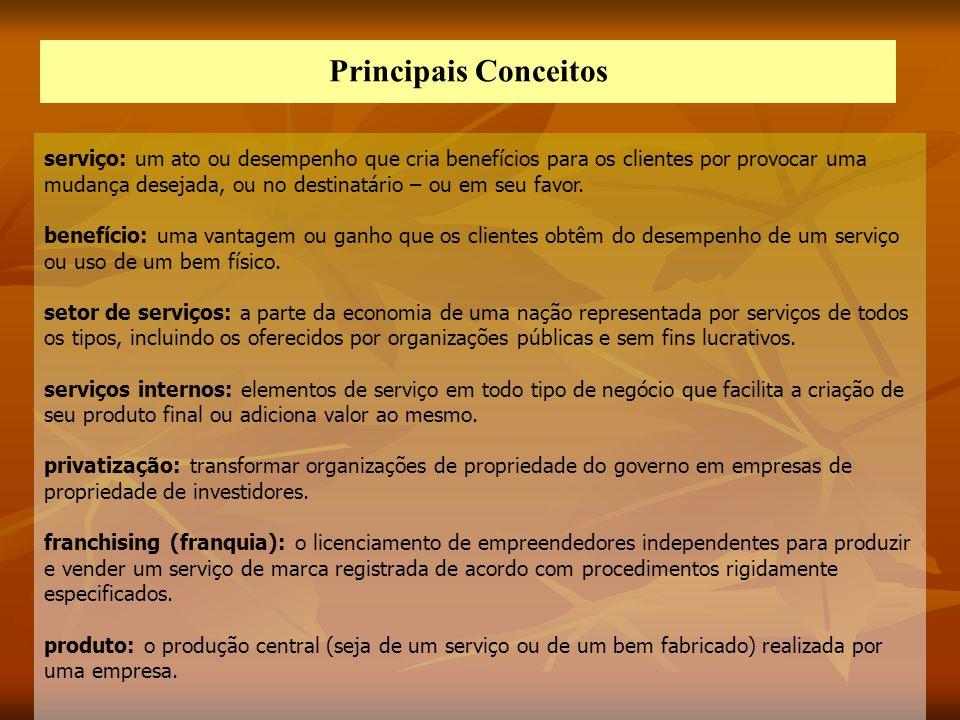 Principais Conceitos serviço: um ato ou desempenho que cria benefícios para os clientes por provocar uma mudança desejada, ou no destinatário – ou em