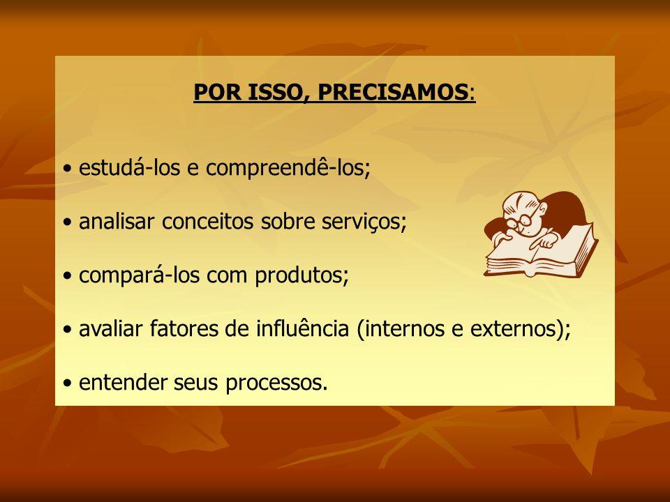POR ISSO, PRECISAMOS: estudá-los e compreendê-los; analisar conceitos sobre serviços; compará-los com produtos; avaliar fatores de influência (interno