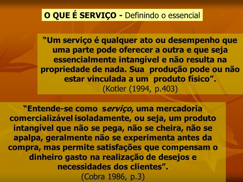 O QUE É SERVIÇO - Definindo o essencial Um serviço é qualquer ato ou desempenho que uma parte pode oferecer a outra e que seja essencialmente intangív