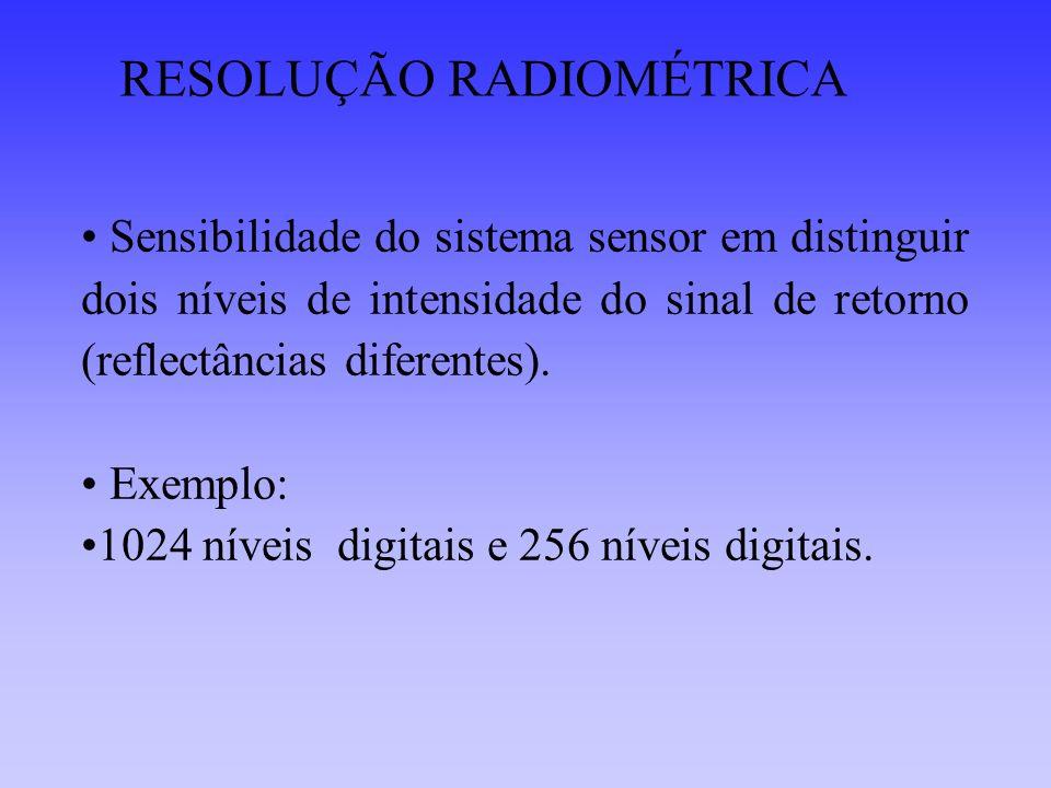 RESOLUÇÃO RADIOMÉTRICA Sensibilidade do sistema sensor em distinguir dois níveis de intensidade do sinal de retorno (reflectâncias diferentes). Exempl