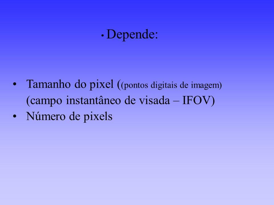 (TM) Landsat –5 (micrômetros) Banda1 - 0.45-0.52 Banda2 - 0.52-0.60 Banda3 - 0.63-0.69 Banda4 - 0.76-0.90 Banda5 - 1.55-1.75 Banda6 - 10.74-12.5 Banda7 - 2.08-2.35 HRV SPOT (micrômetros) Banda1 - 0.50-0.59 Banda2 - 0.61-0.68 Banda3 - 0.79-0.89 IKONOS-II MULTIESPECTRA L (micrômetros) Azul – 0,45–0,52 Verde – 0,52-0,60 Vermelho – 0,63-0,69 IRN – 0,76-0,90